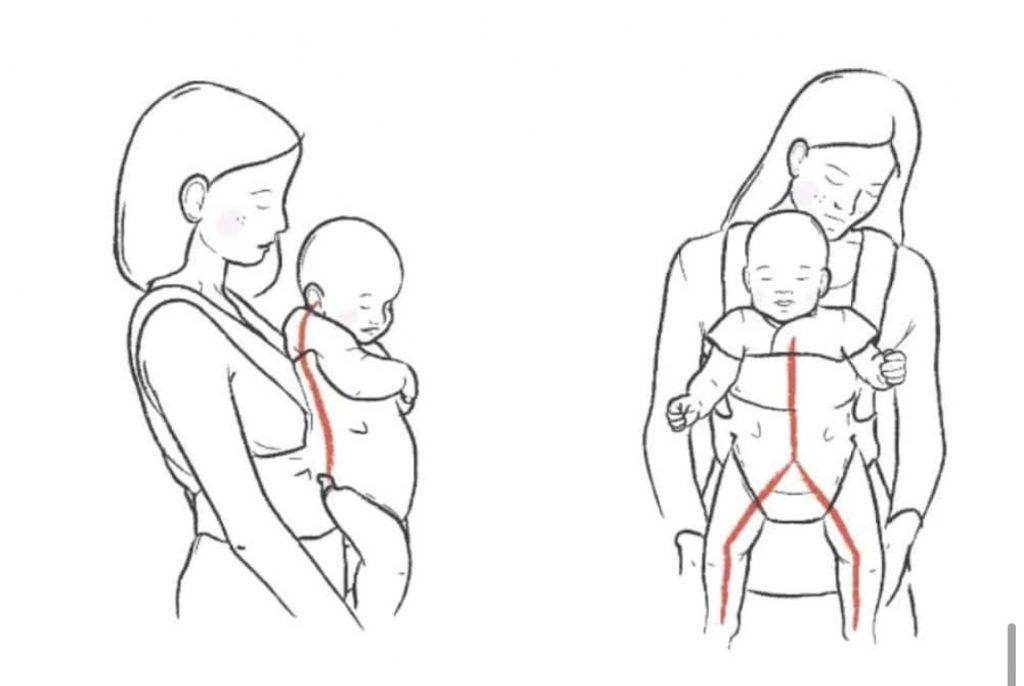 Slechte positie heupen baby in draagdoek